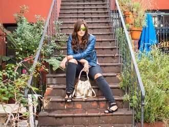 fashion foie gras blogger ripped jeans metallic blue jacket flats