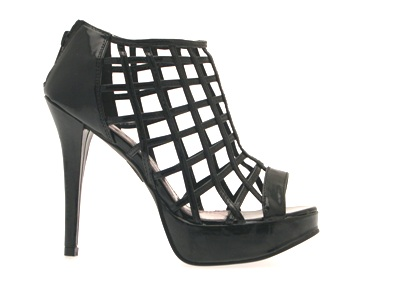 womens peeptoe cage heel black sandals shoes 7 ebay