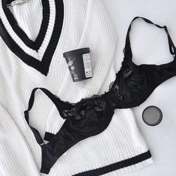 sweater black white bra