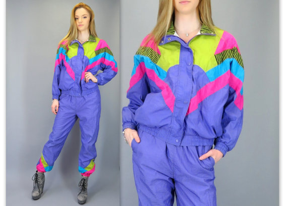 90s Windbreaker Set Purple Pink Geometric Color Block Bomber Zip ...
