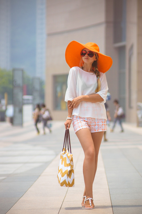 my blonde gal swimwear bag blouse sunglasses shoes