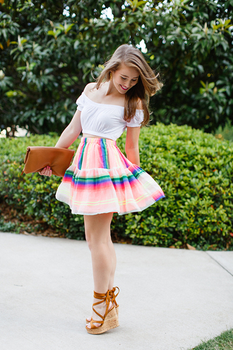 a lonestar state of southern blogger skirt shirt top shoes bag off the shoulder crop tops white crop tops midi skirt colorful mini skirt wedges lace up white off shoulder top white top summer outfits summer top multicolor clutch brown clutch wedge sandals sandals girly