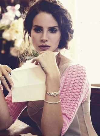 blouse lana del rey clothes celebs cute pink top jewels