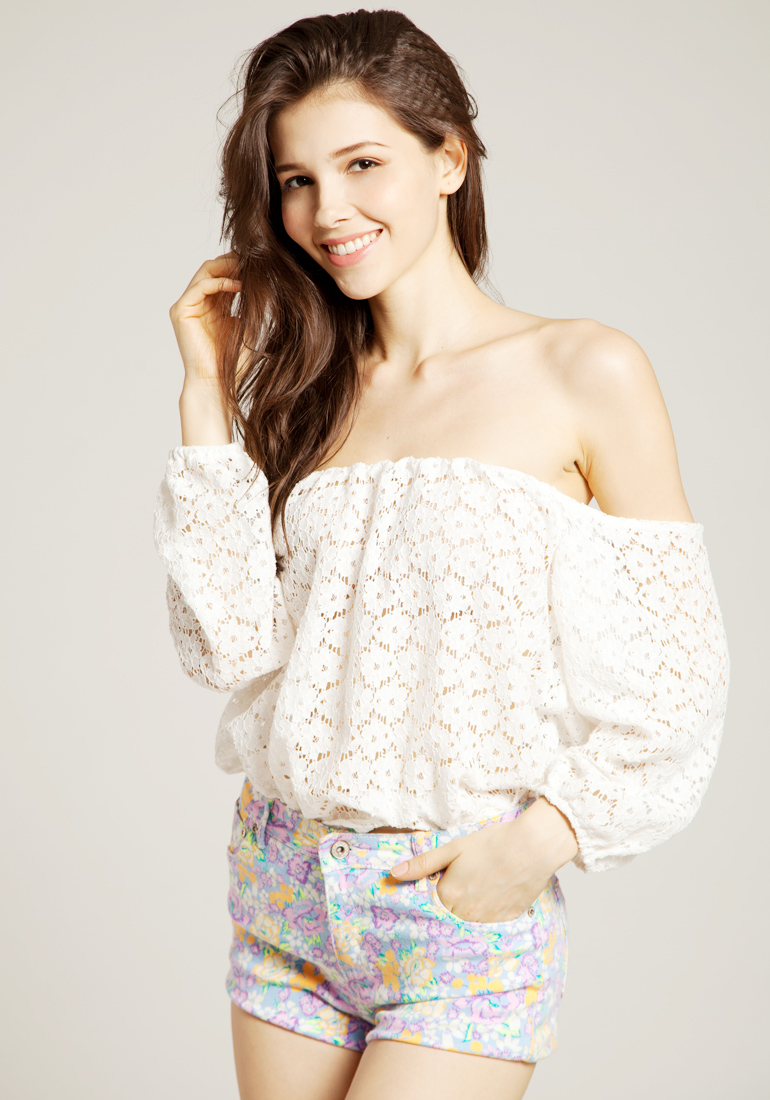 Eyelet Off Shoulder Top - Lookbook Store