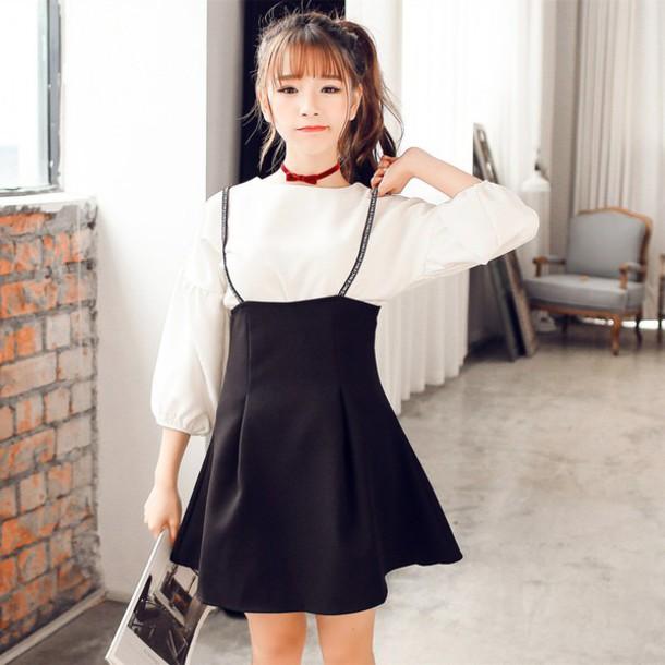 dress skirt t-shirt fashion girly cute kfashion two piece dress set jewels
