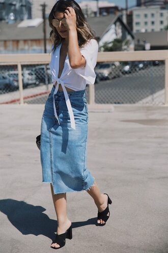 skirt white top tumblr midi skirt denim denim skirt shoes mules top tie-front top white crop tops crop tops knotted top sunglasses blogger blogger style asymmetrical skirt