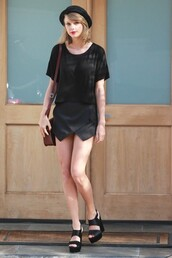 hat,sandals,taylor swift,black,top,skorts,shoes,shorts