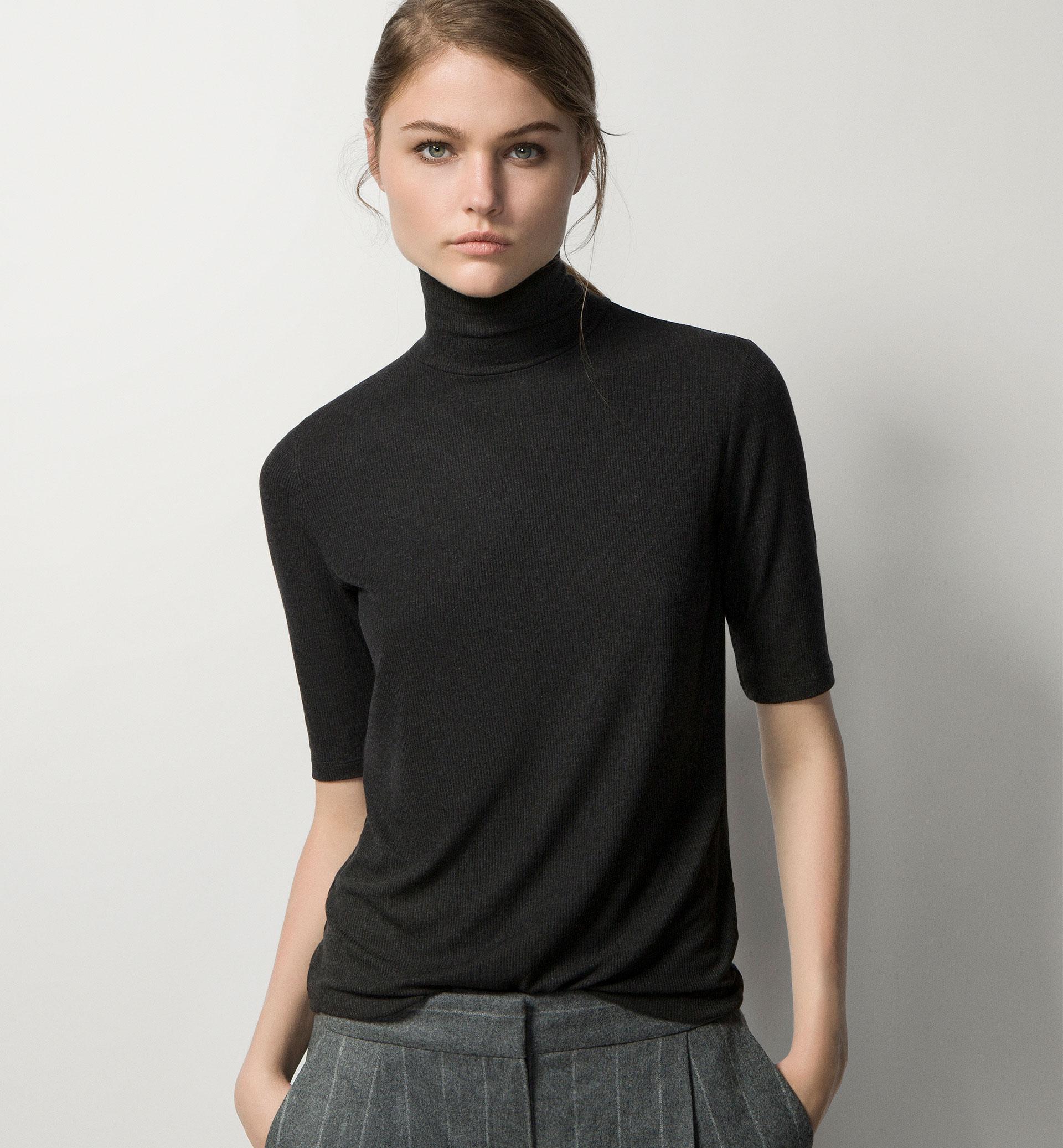 eb24eab13039 RIBBED POLO NECK T-SHIRT - Best Sellers - T-shirts - WOMEN - United Kingdom  - Massimo Dutti