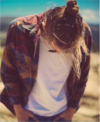 jacket hipster ethnic boho colorful aztec bun blond hair nature