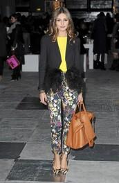 pants,leopars shoes,floral pants,jacket,olivia palermo,beautiful,yellow,black,flowers