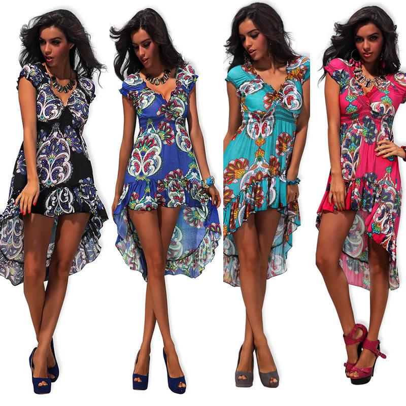 M XXL Plus Size 2014 New Fashion Women Flower Print Dress Bohemian Maxi Long Asymmetrical Beach Dress Summer Casual Dress 4189   Amazing Shoes UK
