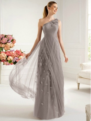 Buy Glamorous Sheath/Column One-shoulder Floor Length Prom Dress with Appliques  under 200-SinoAnt.com
