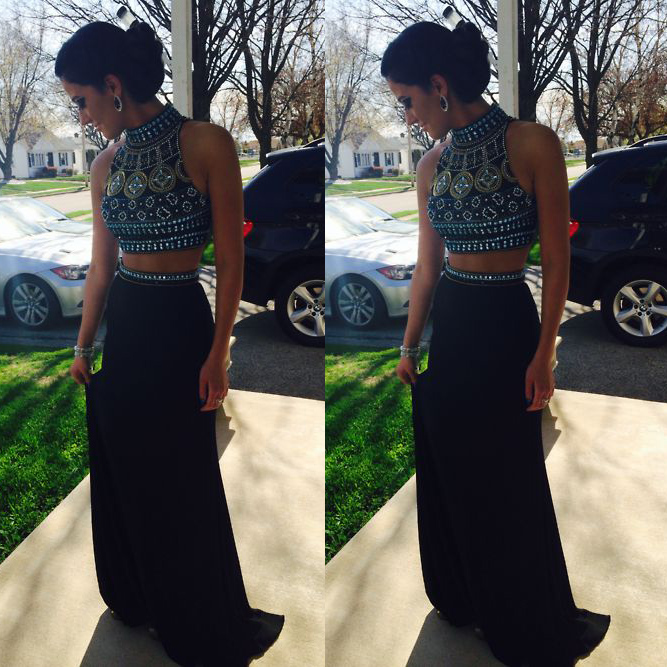 Two Piece Crystal Halter Prom Crop Top with Skirt, Long Prom Dress with Sexy Keyhole Back, Beaded Black Prom Dresses, #02018800 on Storenvy