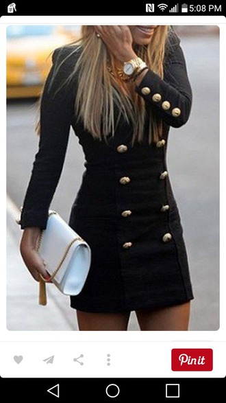 dress button dress long sleeve dress long sleeves black and gold
