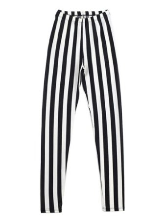 Amazon.com: Womdee(TM) Women's Vertical Stripes Striped Ankle Length Footless Leggings Pantyhose-Black And White With Accessory: Sports & Outdoors