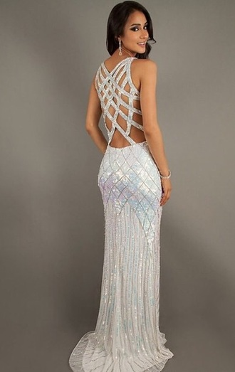 dress white silver sparkly dress prom dress prom unique dress sparkle beautiful