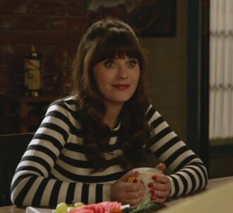 sweater jess day zooey deschanel new girl stripes