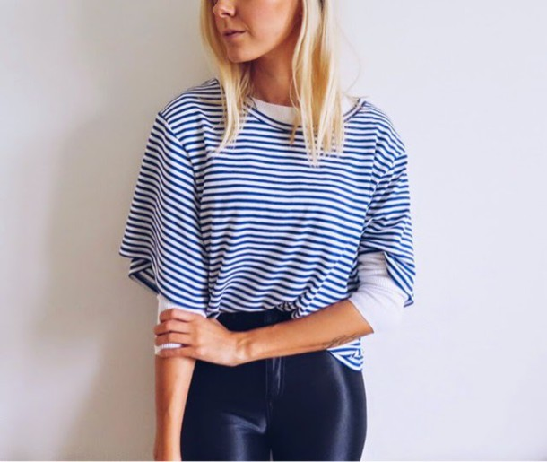 martina m blogger t-shirt sailor striped top jeggings