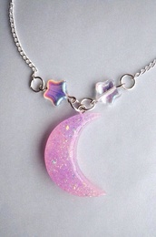 jewels,moon,stars,necklace,silver,glitter,holographic,charm,pastel,purple
