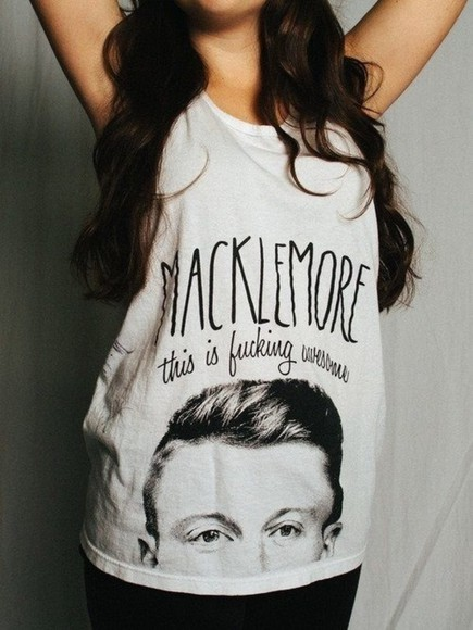 grey top clothes cool t-shirt macklemore black color color fucking awesome can't hold us thrift shop thrift urban outfitters quote on it tumblr