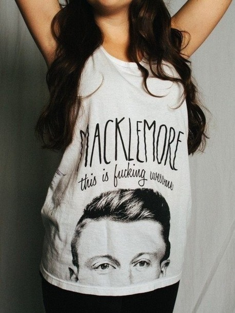 t-shirt macklemore black color colorful fucking awesome can't hold us thrift shop grey top thrift clothes urban outfitters quote on it cool tumblr