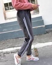 pants,girly,tumblr,grey,sweatpants,joggers pants,joggers,velvet,stripes,white