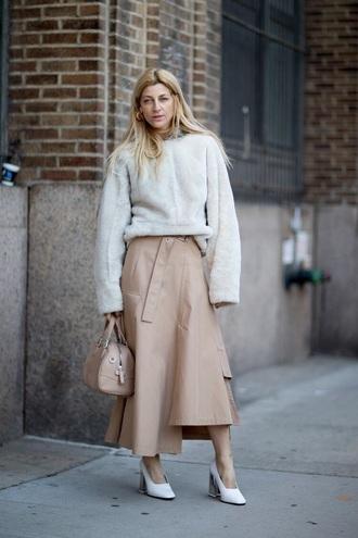 skirt nude skirt midi skirt asymmetrical sweater white sweater oversized sweater oversized shoes white shoes asymmetrical skirt