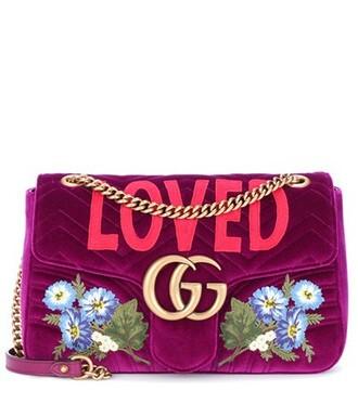 bag shoulder bag velvet purple