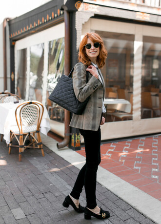themiddlepage blogger jacket jeans shirt t-shirt shoes bag blazer black pants gucci shoes fall outfits