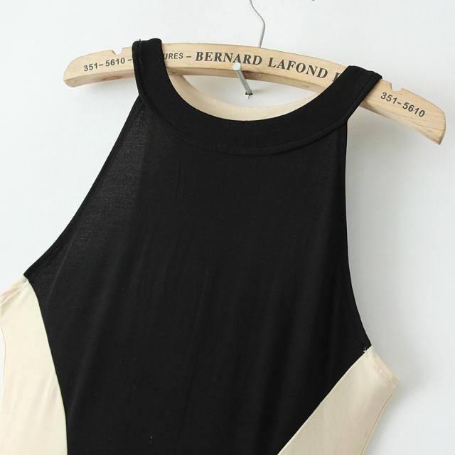 Black Contrast Apricot Sleeveless Slim Maxi Dress - Sheinside.com