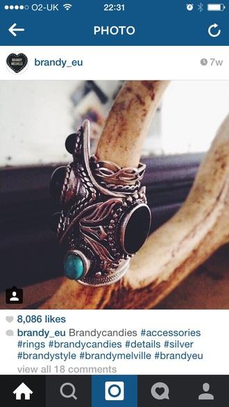 jewels ring stone metal blue cute fashion accessories