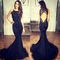 Black mermaid prom dresses with beautiful ruffles, open back mermaid prom dress, floral lace prom dresses with keyhole back, #02018883 on storenvy