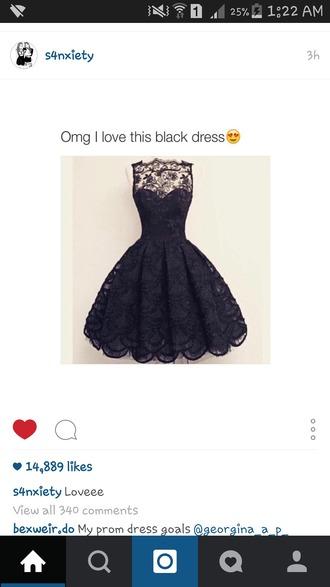 dress black dress lace beautiful prom dress