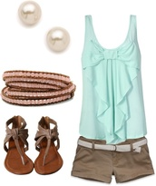 shirt,pearl,bracelets,sandals,bow,jewels,shoes,blouse,shorts,pearl earrings
