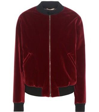 jacket bomber jacket embellished velvet red