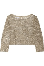 top,metallic,sweater,crochet,silver,gold,Macramé,oscar de la renta,crop tops,lame