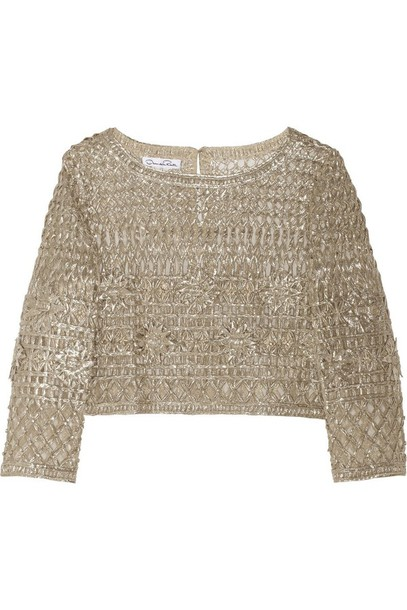 top  metallic  sweater  crochet  silver  gold  macram u00e9  oscar de la renta  crop tops  lame
