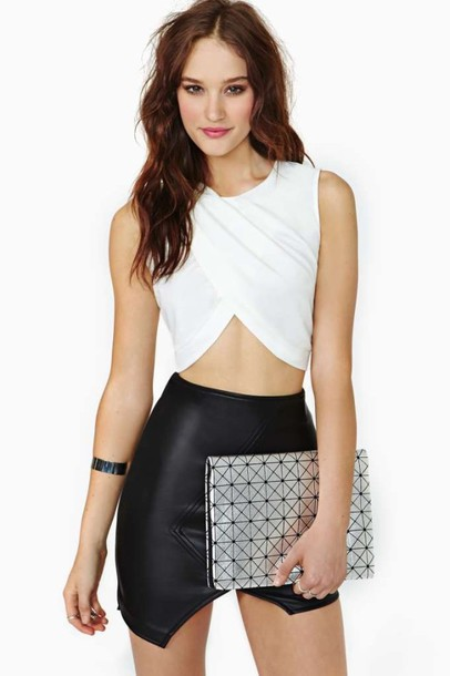 T-shirt: crop tops, white crop tops, wrap top, white, crossover ...