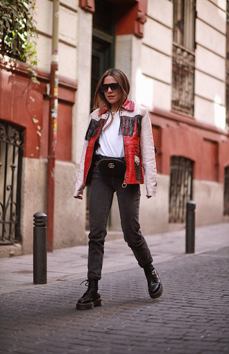 jacket leather jacket fringes fringed jacket jeans denim black jeans boots black boots top sunglasses