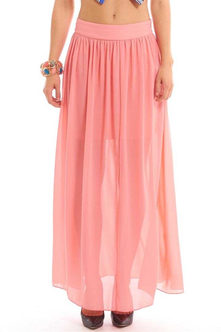 Chiffon Maxi Skirt - Coral from ROXX at ShopRoxx.com
