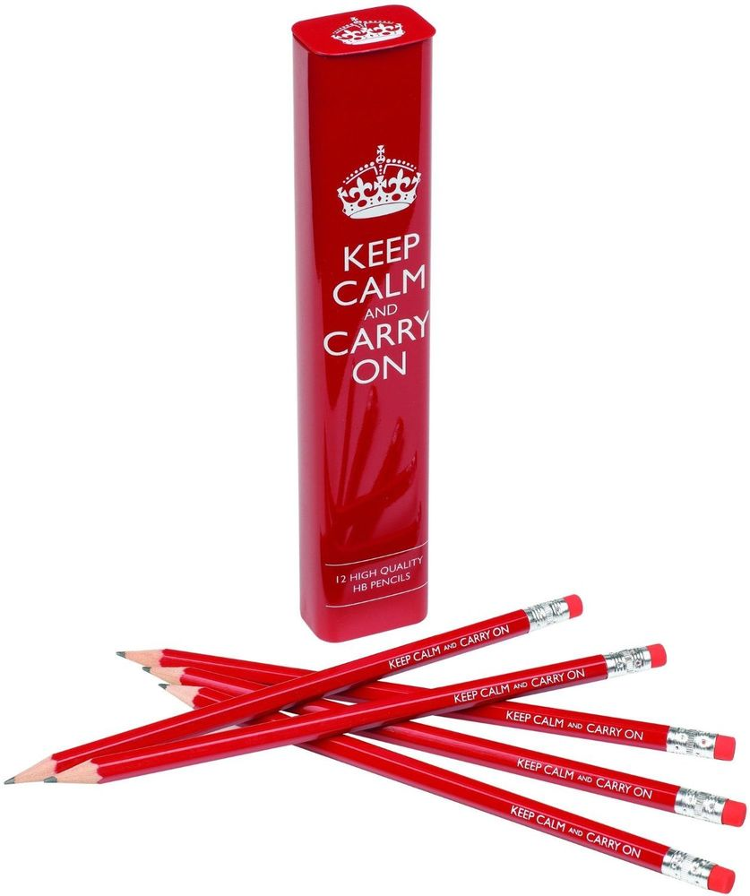 Back to School Pencils Keep Calm and Carry On Red Tin 12 Pencils