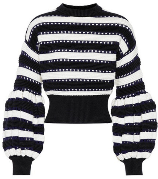 Self-Portrait Cotton and wool-blend sweater in black