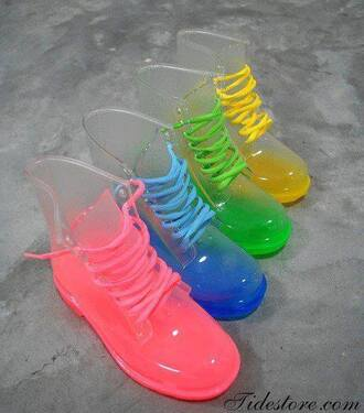 shoes boots vintage boots clothes neon clear clear boots colorful coloured boots neon doc martins style transparent pinky jelly neon boots neon shoes green jelly boots clear transparent jelly boots rainbow festival rubber crazy universe pink yellow red