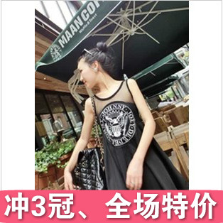 Yy the trend of summer HARAJUKU gauze patchwork cotton letter print sexy sleeveless one piece dress-inDresses from Apparel & Accessories on Aliexpress.com
