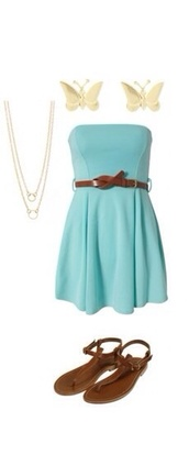 dress,blue,strapless,fit and flare,cute