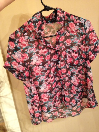 shirt floral sheer pink green black sleeved floral top half-sleeved multi-colored girl's clothes