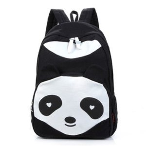 Zehui Women's Panda Style Backpack School Bags Canvas Bookbag Rucksack Black: Amazon.co.uk: Luggage