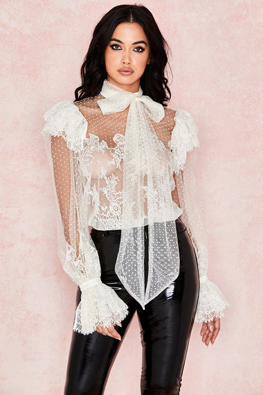 Clothing : Top : 'Cocotte' Ivory Lace Blouse