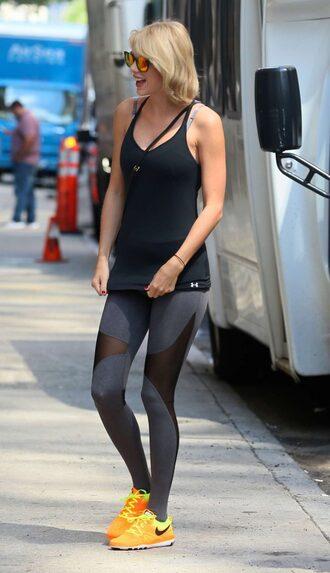 leggings top bra sports bra sportswear sneakers taylor swift sunglasses