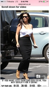 long maxi skirt,bodycon skirt long,kim kardashian west,white top,long black skirt,long midi skirt,kim kardashian,top